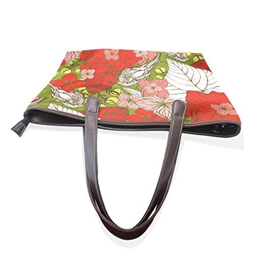 Tracolla A Womens Rosso Borsa E Tote Bag Coosun Floreale 40x29x9 M Pu Grande Cm Muticolour Leather Uccelli Impugnatura CwxgSU8qz