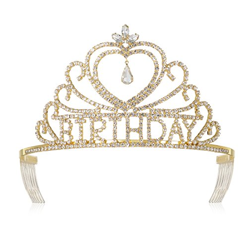DcZeRong Queen's Birthday Tiaras Crowns Gold For Women Birthday Pageant Party Prom Tiaras Crowns ()