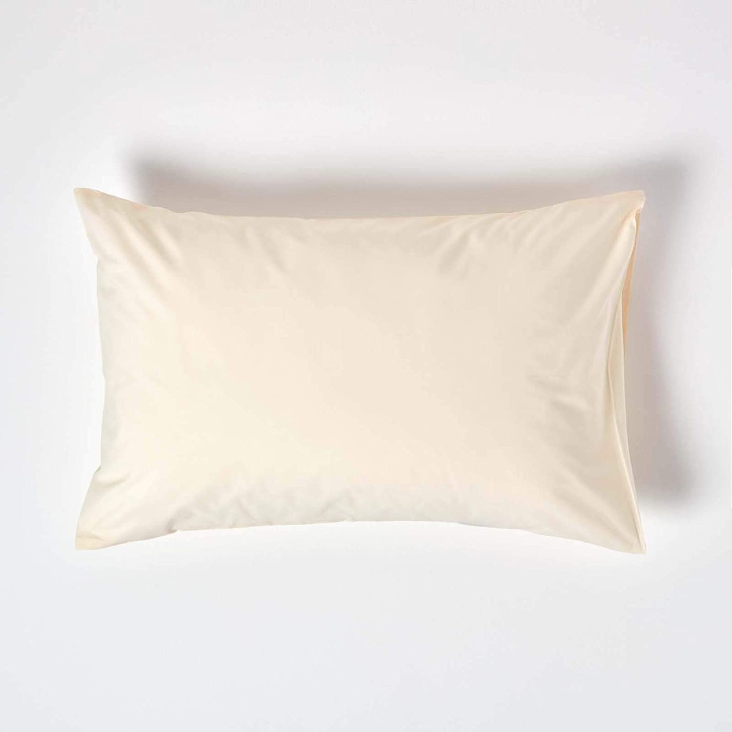 HOMESCAPES Cream Pure Egyptian Cotton Pillowcase Standard Size 400 Thread Count Percale Equivalent Housewife Pillow Case