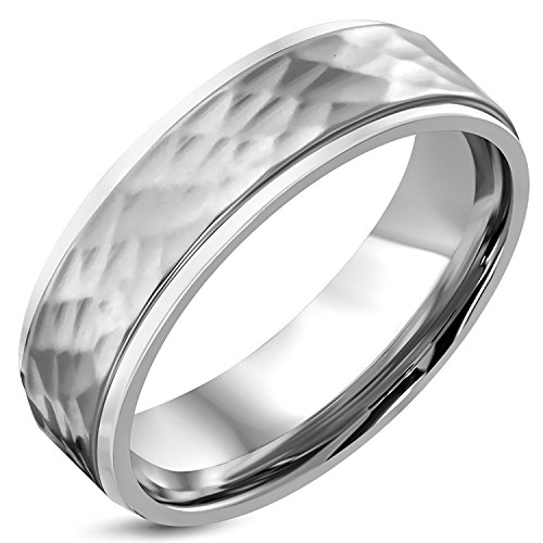 7 MM Stainless Steel Hammered Finish Flat Comfort Fit Wedding Band Ring, Size - Comfort Fit Band Wedding Hammered