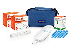 iHealth Smart Wireless Gluco Monitoring with 100 Test Strips, 10 Lancets, & Solution, 1.7 Pound by iHealth (HBA)