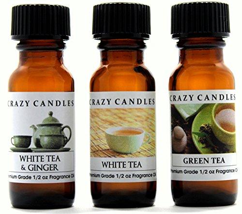 Ginger Scent Tea - Crazy Candles 3 Bottles Set, 1 White Tea & Ginger, 1 White Tea, 1 Green Tea 1/2 Fl Oz Each (15ml) Premium Grade Scented Fragrance Oils