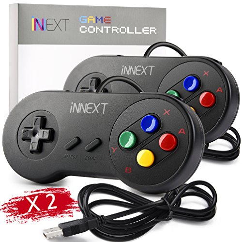 2 Pack iNNEXT SNES Retro USB Super Nintendo Controller Gamepad Joystick, USB PC Super Classic Controller Joypad Gamestick for Windows PC MAC Linux Raspberry Pi 3 Sega Genesis Higan
