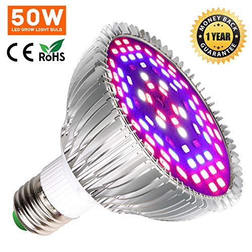 50W LED Grow Light Bulb for Indoor Plants, Grow Bulbs Full Spectrum Grow Lights for Growing Plants Lamp, Vegetables and Flowers, Plant Growing Lights Bulbs for Hydroponics Greenhouses Gardening