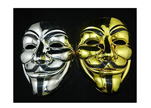 Anonymous Cosplay Halloween Masks Gold & Silver V for Vendetta Guy Fawkes 2 Pack (V For Vendetta Mask Deluxe)