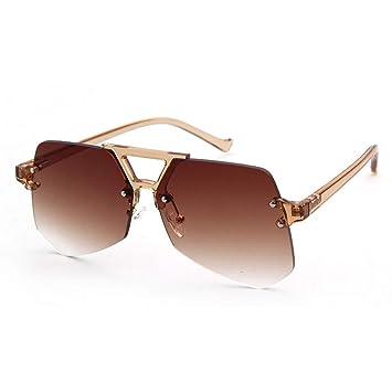DWSYDA Gafas de Sol de Mujer Sin Montura Colores degradados ...