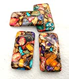 Large 60x40mm Rainbow Golden Copper Sea Sediment Jasper / Gemstone Pendant / DIY Jewelry / Rectangle Shaped 2pcs