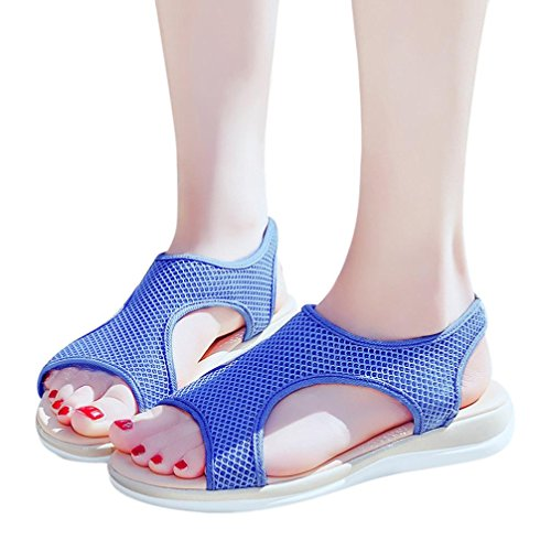 Roman Heel Shoes Flat Breathable Hollow Casual Ankle Beach HLHN Open Women Mesh Skidding Sandals Toe Blue Anti EnqTFpwf