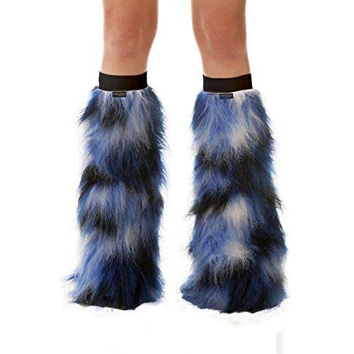 TrYptiX Women's Fluffy Leg Warmers Blue Black and White One Size w/ Black Kneebands (White Fluffy Leg Warmers)