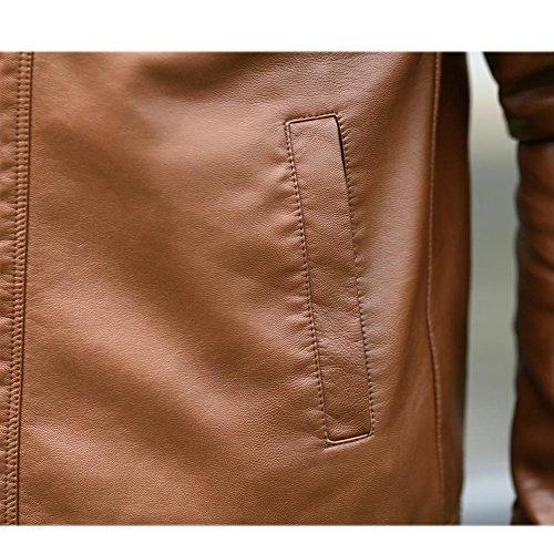 DUUMY cuir d'hiver collier en cuir Slim veste en cuir pour hommes , coffee , xxxl