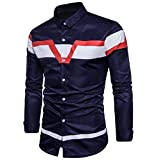 Doufine Mens Fit Vogue Printing Long Sleeve Spell Color Dress Shirts Navy Blue S