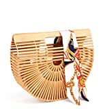 Bamboo Handbag Handmade Tote Bag Handle Straw Beach Bag for Women By Samuel (7.87''x11.02''x2.99'')