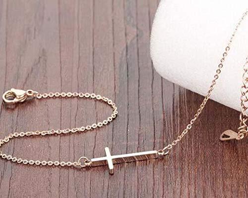 s.bloomy Womens Titanium Steel Rose Gold Cross Anklet