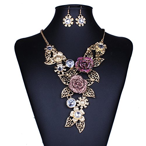 SDLM Womens Charming Filigree 3D Rose Pendant Jewelry Bib Collar Necklace Drop Earring Set