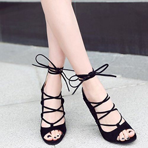 Up Lady Womens Lace Maybest Ankle Strappy Black Open Sandals Heel Toe Shoes Gladiator High gSqSx0v