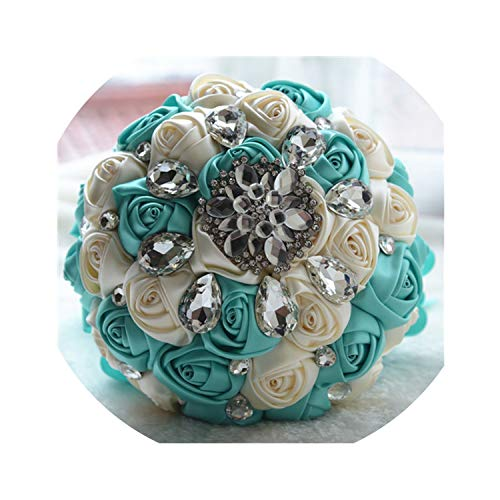 Paramise Wedding Bouquet Silk Roses Rhinestone Bridal Bridesmaid Bouquets Red Flowers Artificial Mariage Home Decoration Flower,Tiffany Blue