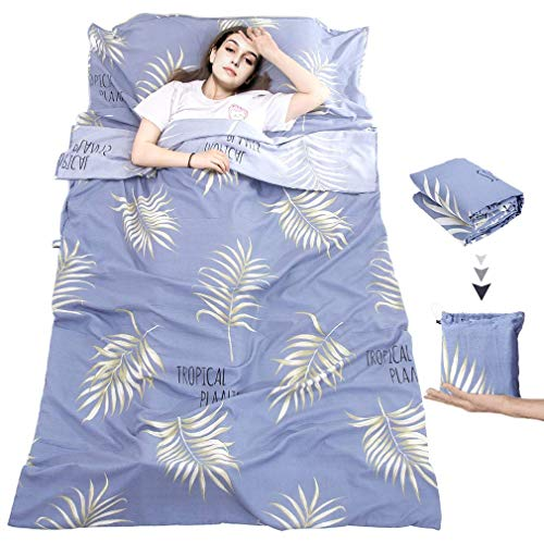 MeiLiMiYu Sleeping Bag Liner, Outdoor Travel Camping Sheet Lightweight Hotel Compact Adult Sleep Bag Sack for Hiking, Picnics, Trains, Planes, Trip (Leaf, 82.7 63 inches)