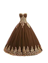 GURNALL Sweetheart Sweet 16 Dress Gold Lace Appliques Ball Gown Quinceanera Dresses