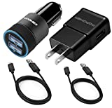 samsung 21 pin car charger - Car charger 5v 3.1amp and Wall charger 5v 2.0amp And 2PCS USB Cable Set for Samsung Galaxy S4 s2 S3 S6 edge,Note 4 edge,Note 5,Note 2, LG G3 G4 G2 G2 G Flex, HTC(Black)