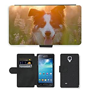 Super Stella Cell Phone Card Slot PU Leather Wallet Case // M00147839 Border Collie Summer Sunset // Samsung Galaxy S4 Mini i9190