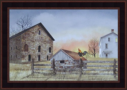 Dawn Framed Art (Early Riser by Billy Jacobs 15x21 Brick Stone Barn Farmhouse Rooster Dawn Sunrise Country Primitive Folk Art Print Picture)