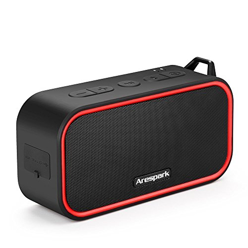 Bluetooth Speakers, Arespark Wireless Outdoor Portable Shower Speaker with 10-Hour Playtime, IPX5 Waterproof, Built-in Mic, Dual Subwoofer, USB & AUX-In Slots, Bluetooth 4.0 Speaker, SD/TF Card Play