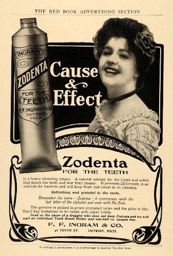 1904 Ad Zodenta Cleansing Cream Teeth F Ingram Company - Original Print Ad