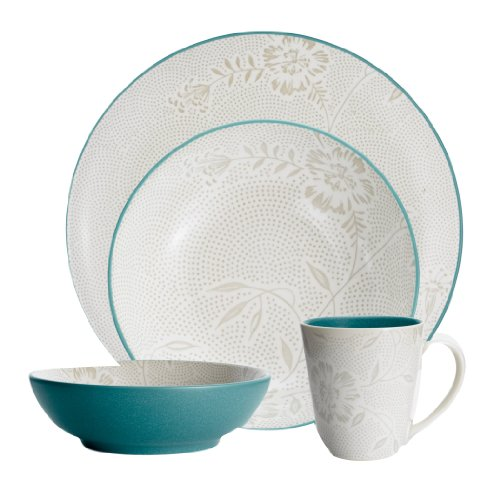 Noritake Coupe (Noritake Colorwave Turquoise Bloom 4-Piece Place Setting, Coupe Shape)