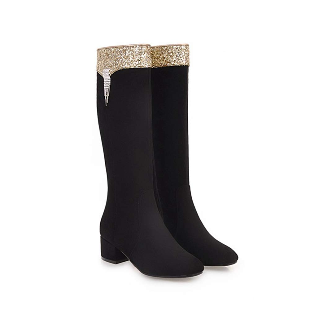 Black T-JULY Winter Knee High Boots for Women Bling Thick Heel Square Toe Riding Fringe Long Zip shoes Red Black