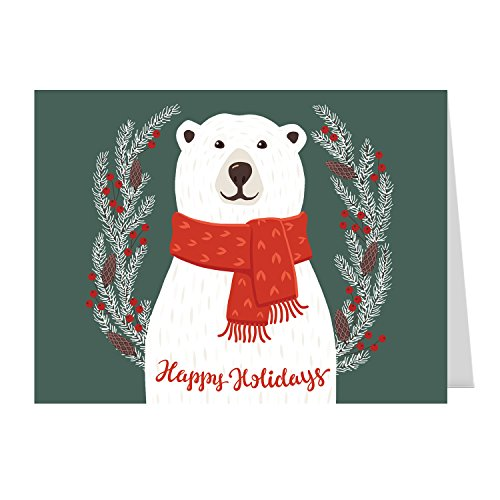 Smiling Polar Bear Holiday Card Pack - Set of 25 cards - 1 design, versed inside with envelopes
