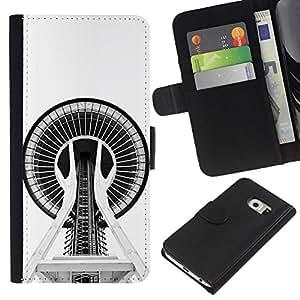 ZCell / Samsung Galaxy S6 EDGE / Building Architecture Space Needle / Caso Shell Armor Funda Case Cover Wallet / Construcción Arquitectur