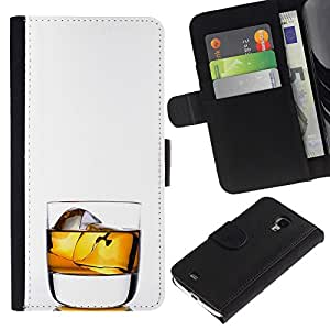 KingStore / Leather Etui en cuir / Samsung Galaxy S4 Mini i9190 / Whiskey Rocks beben alcohol Oro