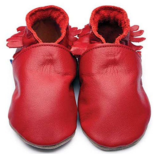 Inch Blue Mädchen/Jungen Schuhe für den Kinderwagen aus luxuriösem Leder - Weiche Sohle - Mokassins Rot