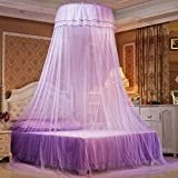 Mosquito Net Dome, Petforu Princess Bed Canopies Netting Elegant Lace with 2 Butterflies for decor - Purple