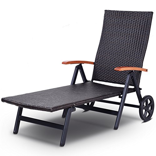 (Tangkula Wicker Chaise Folding Back Adjustable Aluminum Rattan Lounger Recliner Chair W/Wheels (Mix Brown))
