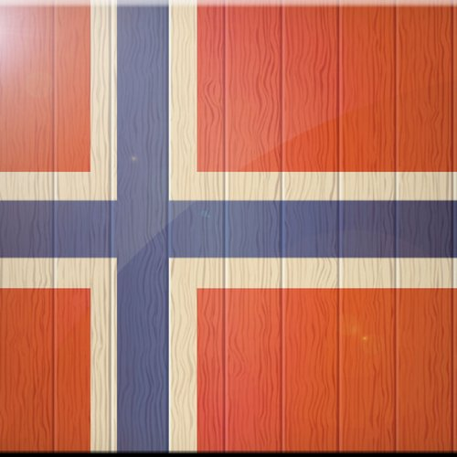 4 by 4-Inch Rikki Knight Norway Flag on Distressed Wood Design Art Ceramic Tile
