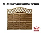 Total Sheds European Fence Panel 1.83m x 1.8m (6 x 6) Omega Decorative Lattice Top Pressure Treated Tanalised