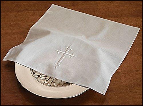 4PC Bread Plate Linen Napkin, Embroidered cross design