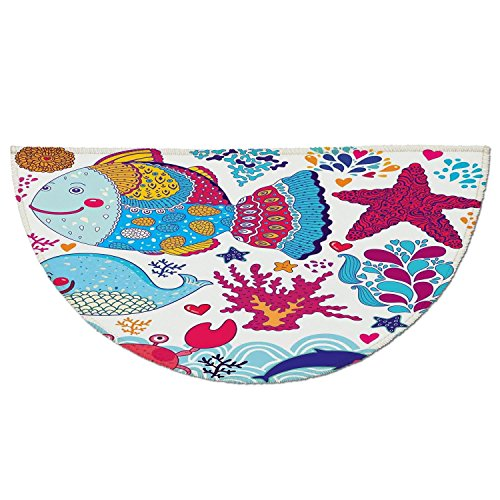 Grass Clipart - Half Round Door Mat Entrance Rug Floor Mats,Whale,Funny Fishes Starfish Coral Crab Underwater Life Waves Marine Clipart Illustration,Multicolor,Garage Entry Carpet Decor for House Patio Grass Water