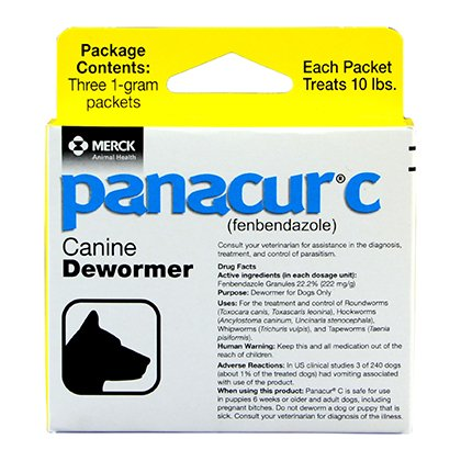 Panacur C Canine Dewormer Dogs 1 (3 Packets) Gram Each Packet Treats 10 lbs