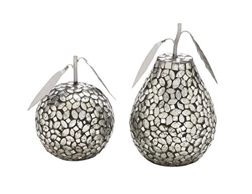 Deco 79 Metal Mosaic Pear Apple, 8 by 6-Inch, Silver, Set of 2