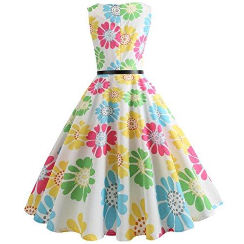 Jaminy 2018 Summer 50s Retro Vintage Rockabilly Kleid Partykleider Cocktailkleider Frauen Vintage Druck Bodycon Ärmelloses Lässiges Prom Swing Kleid O-Ausschnitt S-2XL Von Gelb2 FdncQXh0