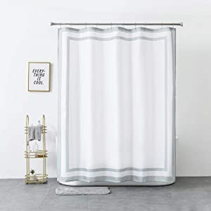 Rellosatul Shower-Curtain - Water-Resistant - Cloth Shower Curtains for Bathroom, White and Grey Standard Size 72'' x 72''
