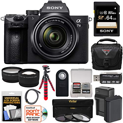 Sony Alpha A7 III 4K Digital Camera & 28-70mm FE OSS Lens with 64GB Card + Battery & Charger + Case + 3 Filters + Tripod + Tele/Wide Lens Kit