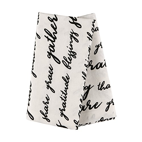 The White Petals Set of 6 Thanksgiving Cloth Napkins, 100% Cotton, Napkins with Text- Blessings, Share, Grace, 20x20 -