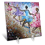 3dRose Art by Mandy Joy - Dancers - A Modern Impressionist Painting of a 4 Girls in Ballet Class. - 6x6 Desk Clock (dc_291490_1)
