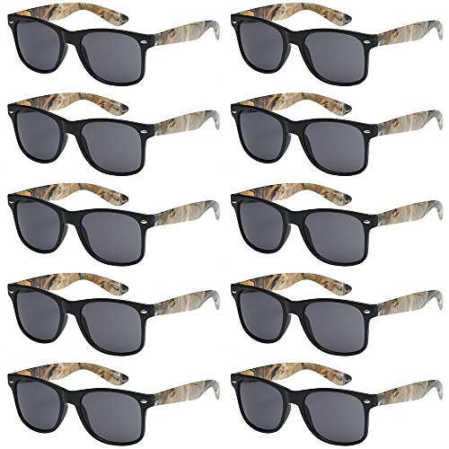 WHOLESALE UNISEX 80'S RETRO STYLE BULK LOT PROMOTIONAL SUNGLASSES – 10 PACK (Matte Black / Hunting Camouflage / Smoke, 52)
