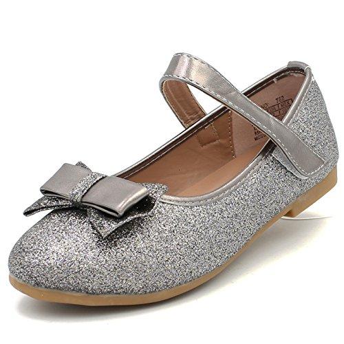 CAKI-DREAM SEEK Girl's Classic Glitter Dress Shoes Ballerina Flats Bow Cushion Mary Jane Strap (12 M US Little Kids, D. Grey) -