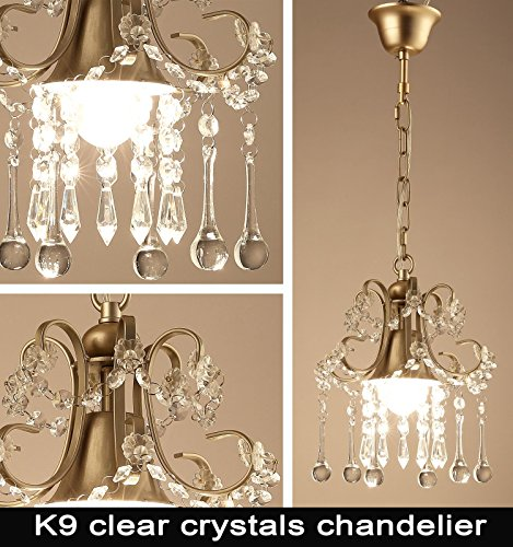 Garwarm Mini Style Clear Crystal Chandeliers, Ceiling Lights,Crystal Pendant Light,Ceiling Light Fixtures for Living Room Bedroom Restaurant Porch Chandelier,1-Light,Champagne by Garwarm (Image #5)