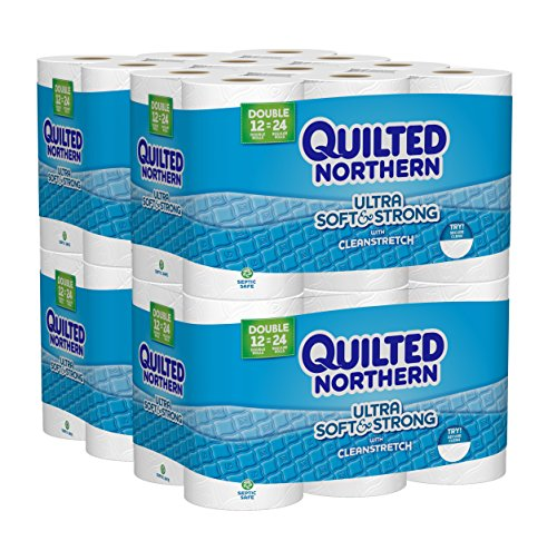 4 Double Rolls (Quilted Northern  Ultra Soft & Strong Toilet Paper with CleanStretch, 48 Double Rolls (Four 12-Roll Packages), Equivalent to 96 Regular Rolls)
